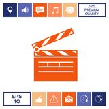 Clapperboard icon symbol. Clapperboard icon. Element for your design . Signs and symbols - graphic elements for your design Royalty Free Stock Photos