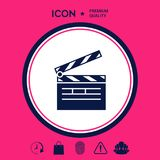 Clapperboard icon symbol. Clapperboard icon. Element for your design . Signs and symbols - graphic elements for your design Royalty Free Stock Photo