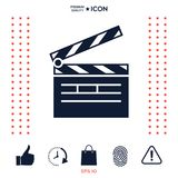 Clapperboard icon symbol. Clapperboard icon. Element for your design . Signs and symbols - graphic elements for your design Stock Photo