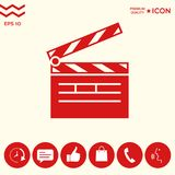 Clapperboard icon symbol. Clapperboard icon. Element for your design . Signs and symbols - graphic elements for your design Stock Image