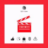 Clapperboard icon symbol. Clapperboard icon. Element for your design . Signs and symbols - graphic elements for your design Stock Photos