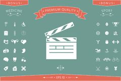 Clapperboard icon symbol. Clapperboard icon. Element for your design . Signs and symbols - graphic elements for your design Royalty Free Stock Images
