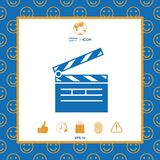Clapperboard icon symbol. Clapperboard icon. Element for your design . Signs and symbols - graphic elements for your design Stock Photography