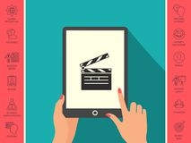 Clapperboard icon symbol. Clapperboard icon. Element for your design . Signs and symbols - graphic elements for your design Stock Images