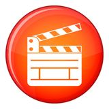 Clapperboard icon, flat style. Clapperboard icon in red circle isolated on white background vector illustration Stock Photography