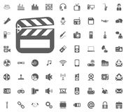 Clapperboard icon. Media, Music and Communication vector illustration icon set. Set of universal icons. Set of 64 icons.  Royalty Free Stock Photos