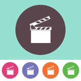 Clapperboard icon. Single clapperboard icon on round colorful buttons Stock Images