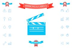 Clapperboard icon symbol. Signs and symbols - graphic elements for your design Stock Photos