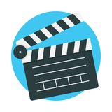 Clapperboard icon vector. Isolated on color background, Vector illustration flat design Royalty Free Stock Photos