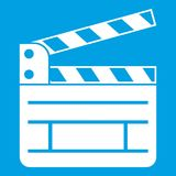 Clapperboard icon white. Isolated on blue background vector illustration Royalty Free Stock Photos