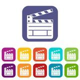 Clapperboard icons set Stock Photos