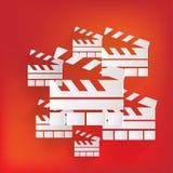Clapperboard-Ikone. Film, Kino, Filmsymbol Stockfotos