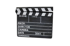Clapperboard isolated on white Stock Images
