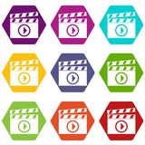 Clapperboard for movie shooting icon set color hexahedron. Clapperboard for movie shooting icon set many color hexahedron isolated on white vector illustration Royalty Free Stock Images