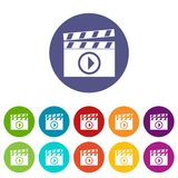 Clapperboard for movie shooting set icons Royalty Free Stock Photos