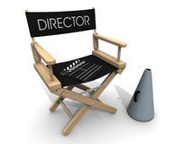 Clapperboard over director chair break. Director chair with clapboard and shouter Stock Photo
