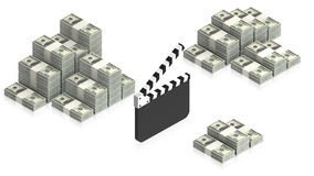 Clapperboard with paper dollars Stock Photos