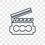 Clapperboard pojęcia wektorowa liniowa ikona odizolowywająca na przejrzystym ilustracji