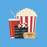 Clapperboard and popcorn and ticket movie Stock Photography