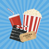 Clapperboard and popcorn and ticket movie. Vector illustration in flat style Royalty Free Stock Photo
