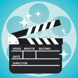 Clapperboard and reel. Black open clapperboard. Movie clapper board. Movie logo. Flat vector cartoon illustration Stock Photo