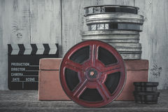 Clapperboard and the reel of film Royalty Free Stock Photo