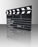 Clapperboard with reflection. (prod., director, camera Royalty Free Stock Images