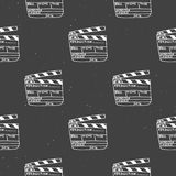 Clapperboard seamless pattern, vintage handdrawn sketch, retro movie industry, vector illustration.  Royalty Free Stock Photos