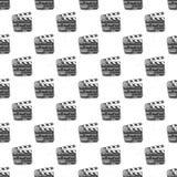 Clapperboard seamless pattern, vintage handdrawn sketch, retro movie industry, vector illustration.  Stock Photo