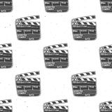 Clapperboard seamless pattern, vintage handdrawn sketch, retro movie industry, vector illustration.  Stock Photography