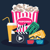 Clapperboard sinema banner. Cinema concept poster template with popcorn bowl, film strip and tickets, realistic detailed vector illustration Stock Photography