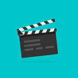 Clapperboard vecto, flat style clapperboard icon, filmmaking device, video movie clapper equipment. Clapperboard vector illustration isolated on blue color Royalty Free Stock Images