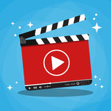 Clapperboard with video web streaming player Royalty Free Stock Photography