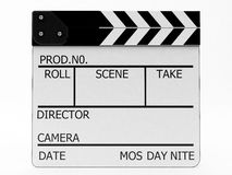 Clapperboard white. Used for the directors of films. High resolution and isolated on white background Stock Photography