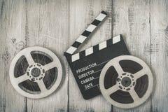 Clapperboards和影片两个卷轴  免版税库存照片