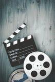 Clapperboards и вьюрок фильма стоковые фотографии rf