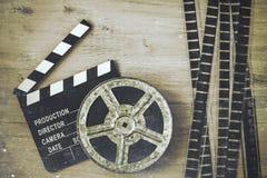 Clapperboards и вьюрок фильма стоковое изображение rf