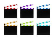 Clapperboards coloridos do filme isolados no fundo branco fotografia de stock royalty free