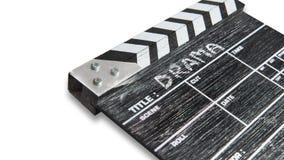 Clapperbräde på den vita bakgrundstiteldramat Arkivfoto