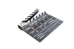 Clapperbräde på den vita bakgrundstitelkärlekshistorien Fotografering för Bildbyråer