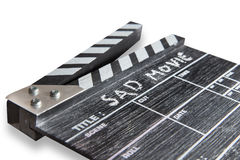 Clapperbräde på ledsen film för vit bakgrundstitel Arkivbilder