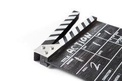 Clapperbräde på vit bakgrundstitelhandling Fotografering för Bildbyråer