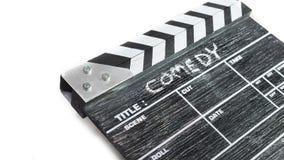 Clapperbräde på vit bakgrundstitelkomedi Fotografering för Bildbyråer