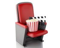 clapperbräde och popcorn för bio 3d Vit bakgrund Royaltyfri Bild