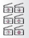 Clappers boards countdown. Black and white clappers boards countdown over gray background. vector Royalty Free Stock Photography