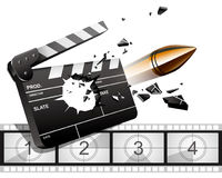 Clappers and bullets. Vector: Clappers and bullets in film Royalty Free Stock Photos