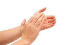Clapping! Женский clapping рук Стоковая Фотография RF