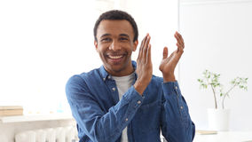 Clapping Afro-American Man, Portrait of Applauding Man Stock Photos