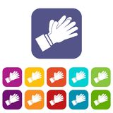 Clapping applauding hands icons set Stock Photos