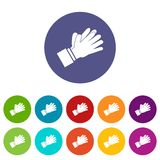 Clapping applauding hands set icons Stock Photography